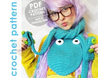 crochet scarf pattern, octopus scarf with tentacles, halloween costume, crochet scarf, tentacle scarf, funny scarf, crochet octopus scarf