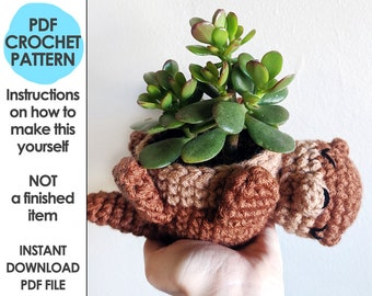 Otter Planter Crochet Pattern, mini succulent planter, hanging crochet planter, animal planter, otter crochet