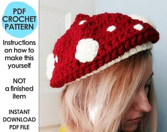 muchroom hat crochet pattern, slouchy beanie, mushroom, toadstool, crochet gift, crochet mushroom, mori girl, cottage core