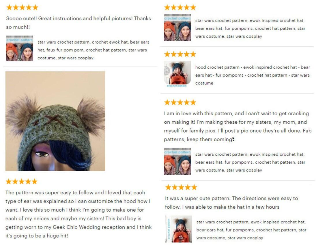 Star Wars Crochet Pattern Crochet Ewok Hat Bear Ears Hat Etsy