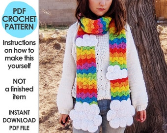 Rainbow and Clouds Scarf Crochet Pattern, Rainbow Scarf, Scarf with handwarmer pockets