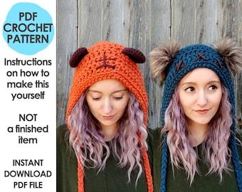 Galaxy wars crochet pattern, crochet star bear hat, bear ears hat, faux fur pom pom, crochet hat pattern, galaxy space wars costume, cosplay