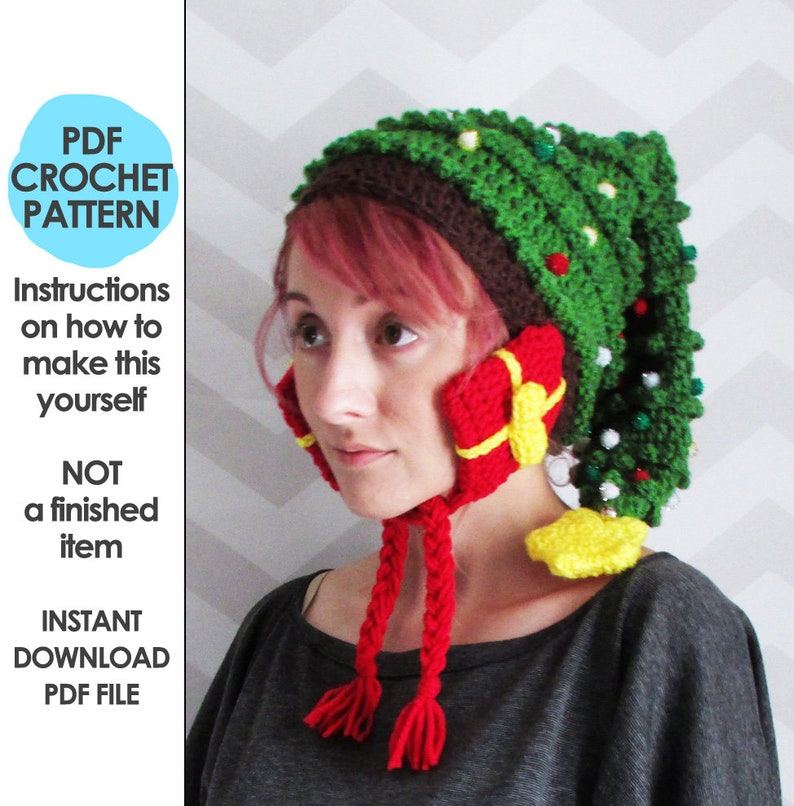crochet christmas hat pattern christmas tree hat novelty image 0