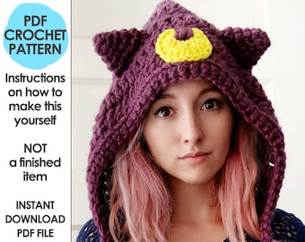sailor moon crochet pattern, luna artemis sailor moon hood, cat ears hat hood, anime cosplay costume, bow tie, winter hat, winter hood