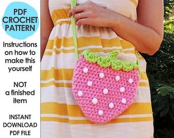 Strawberry Crossbody Bag Crochet Pattern, Pink Strawberry Bag