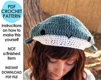 Whale Beret Crochet Pattern, Crochet Hat Pattern, Whale Hat, Crochet Beret