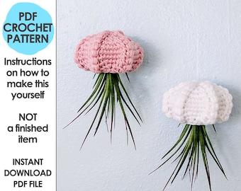 hanging air planter crochet pattern, jellyfish air planter, air plant hanger, mori girl, cottage core decor