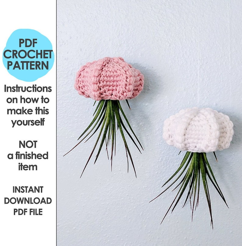 hanging air planter crochet pattern jellyfish air planter image 0