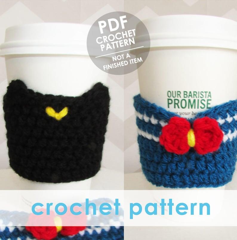 Crochet Coffee Sleeve Pattern Sailor Moon Coffee Cup Sleeve Etsy