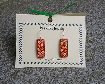 Floral pysanky dangle earrings
