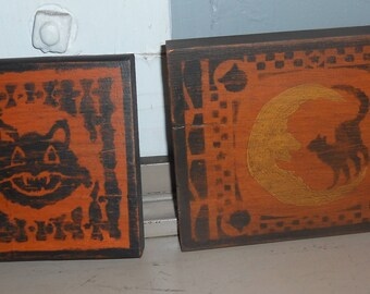 Primitive Halloween Stenciled Wood Plaques Set of 2