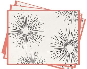 Letterpress 'Burst' Folded Greeting Cards - Set of 6