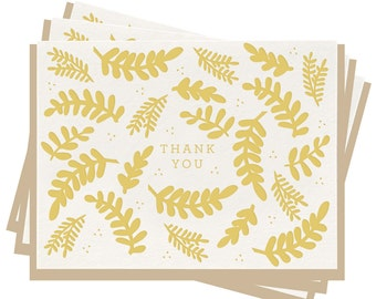 Letterpress 'Thank You Floral' Folded Greeting Cards - Set of 6