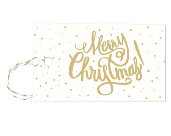 Merry Christmas - Gift Tags Set of 10 with twine