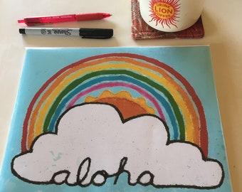 Aloha Rainbow Cloud Print