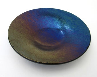 Purple blue green copper iridescent glass dish, tealight candle votive holder, shallow glass bowl, small soap dish, change tray, jewelry