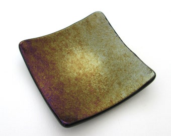 Purple copper gold iridescent glass dish, square tealight candle holder, shallow bowl, small soap dish, change tray, jewelry, imperfect sale