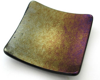 Copper purple gold iridescent glass dish, square tealight candle holder, shallow bowl, small soap dish, change tray, jewelry, imperfect sale