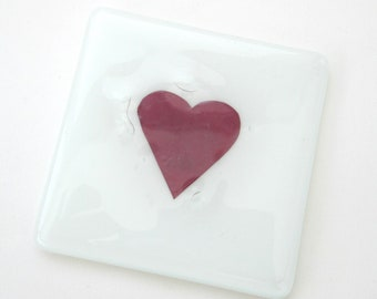 Red heart coaster, handmade glass coaster, romantic mug mat, red wine glass coaster, wine lover gift, new home gifts, clearance sale