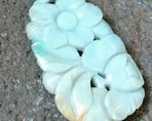 Carved flowers nephrite jade Chinese pendant celadon apple yellow 48mm jadeite
