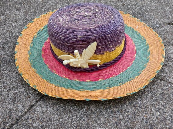 80's tropical hat beach sun striped straw wide br… - image 1