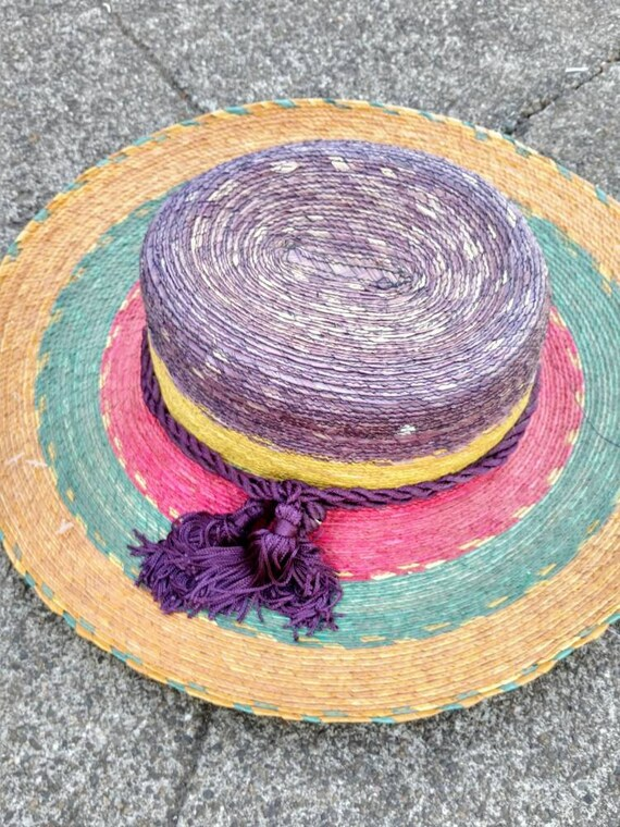 80's tropical hat beach sun striped straw wide br… - image 4