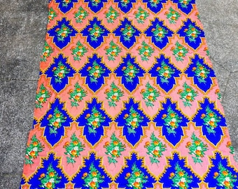 70s Silky Nylon Floral Disco Romance Orange Blue Bright Crazy Wallpaper Print 42 Wide 3