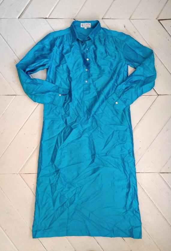 Silk shirt dress bright teal blue shantung seventi