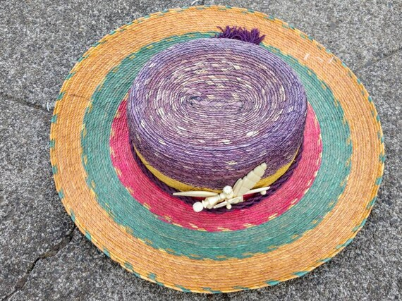 80's tropical hat beach sun striped straw wide br… - image 6