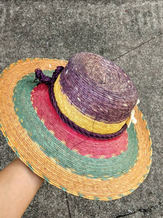 80's tropical hat beach sun striped straw wide br… - image 5
