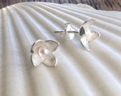 Sterling Silver and Pearl Floral Stud Earrings