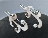 Sterling Silver Earrings with Pearls and Moonstones