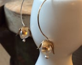 Brass Lily of the Valley Earrings with Freshwater Pearls