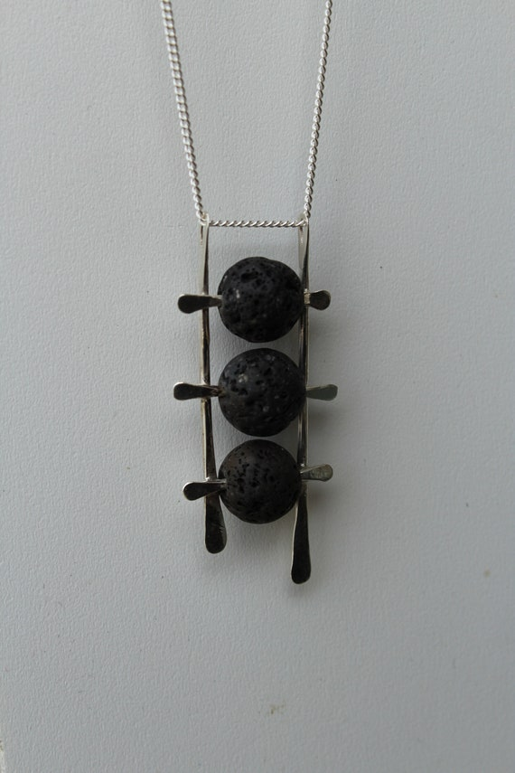 Sterling Silver and Lava Rock Essential Oil Necklace