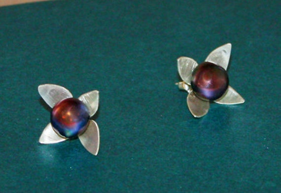 Sterling Silver Dogwood Stud Earrings with Peacock Pearls