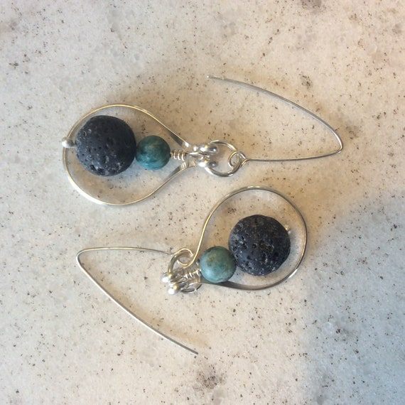 Sterling Silver, Lava Rock and Turquoise Essential Oil Earrings