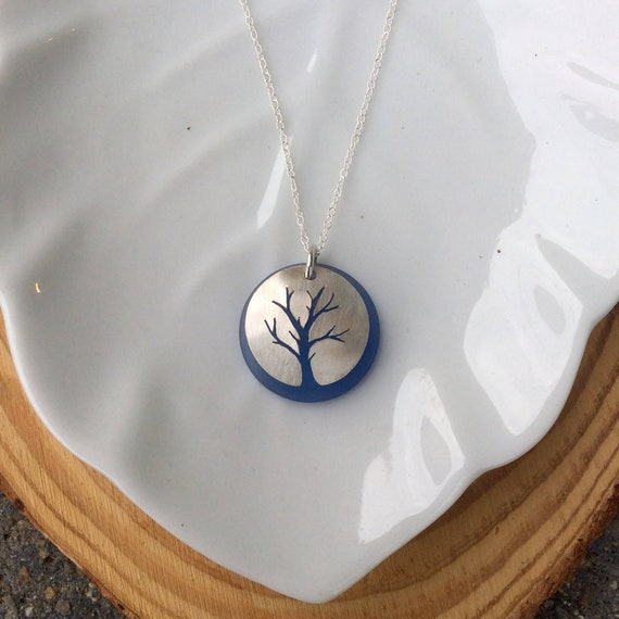 Sterling Silver Tree of Life Necklace with Teal Matte Glass