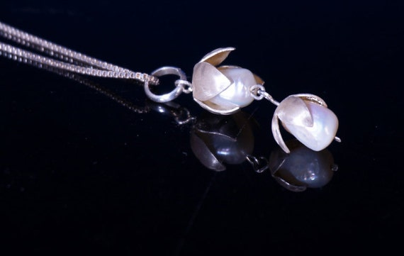 Sterling Lily of the Valley Necklace with Pearls