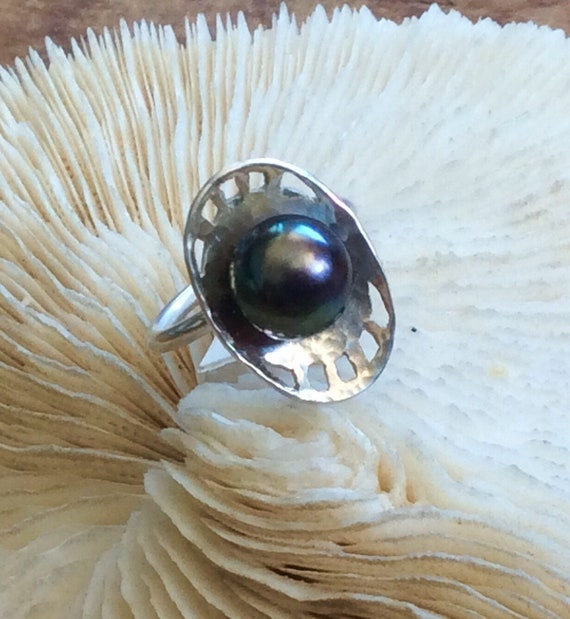 Sterling Silver and Peacock Pearl Ring