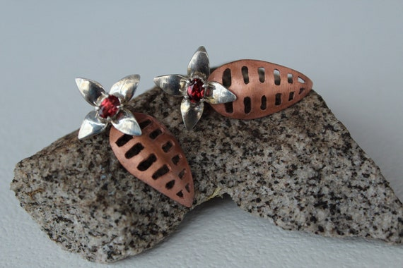 Sterling Silver and Copper Tropical Leaf Floral Earrings with Garnet