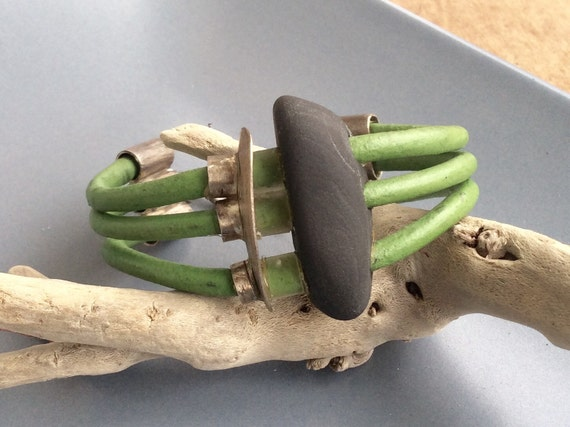 Riptide Sterling Silver and Green Leather Bracelet with Beach Stone