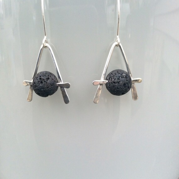 Sterling Silver and Lava Rock Essential Oil Earrings
