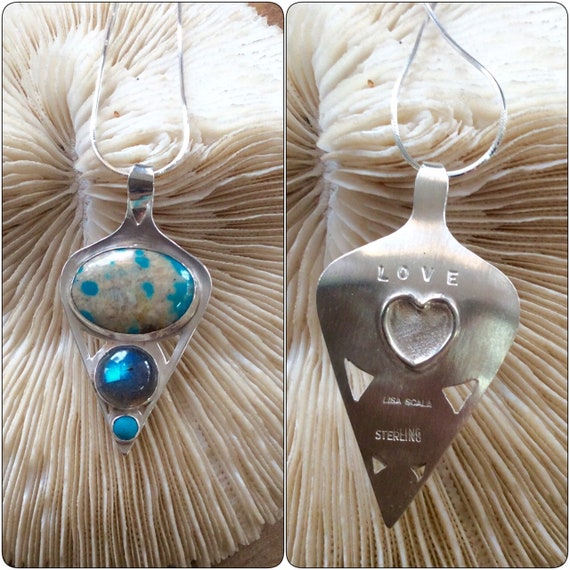 Sterling Silver Healing Necklace with Turquoise and Labradorite