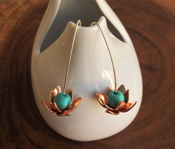 Copper and Turquoise Lotus Earrings