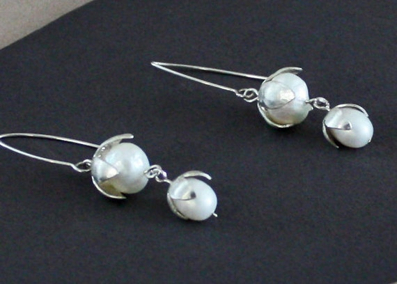 Sterling Silver Lily of the Valley Earrings with Double Pearls