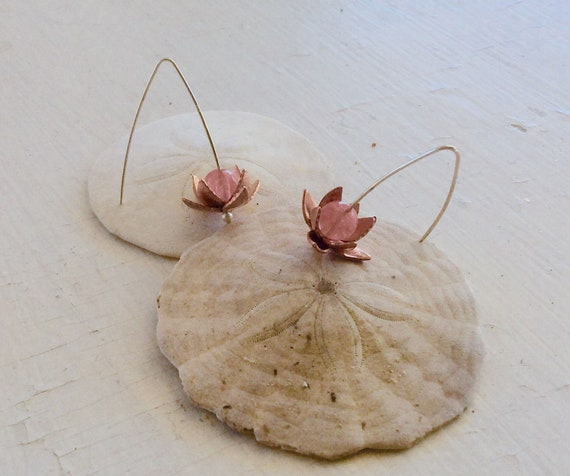 Copper Lotus Earrings with Cherry Quartz