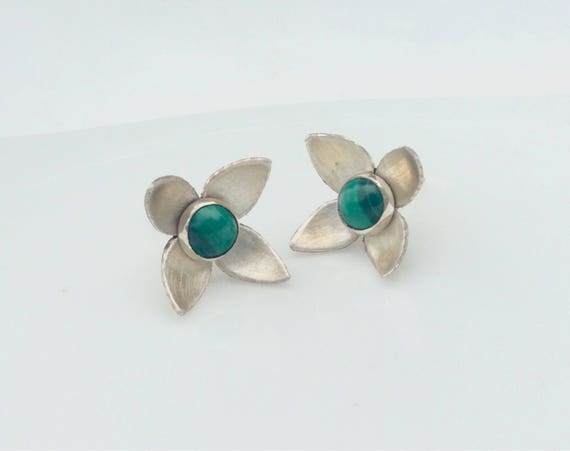Sterling Silver Earring Jackets with Malachite Studs