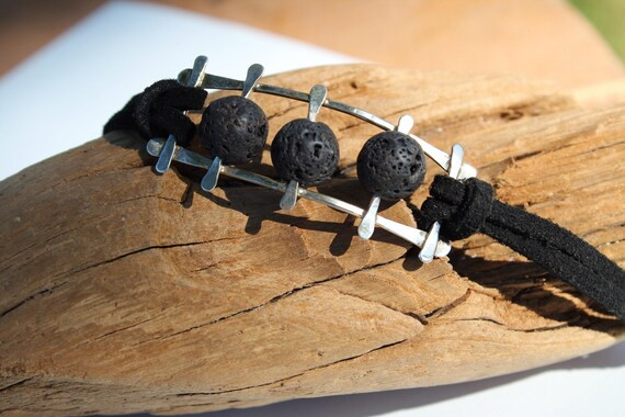 Sterling Silver and Lava Rock Essential Oil Bracelet