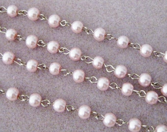 """Light Pink Glass Pearl 6mm  One Meter 39.5"""" Beaded Rosary Chain Silver 964"""