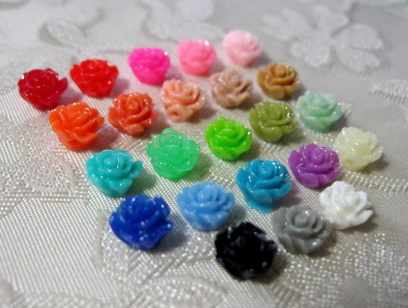 Tiny Drilled Resin Rose Flower Beads with Hole Choose your image 0